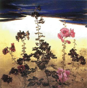 「夏空に燃ゆ」910 910mm ■略歴:小倉亜矢子(1974-)おぐら... ) [日本画]
