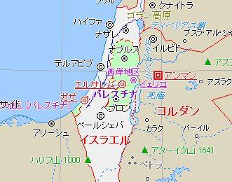 パレスチナの地図 パレスチナの地図。白い部分がイスラエル。緑の右の部分はヨルダン川西岸、左...