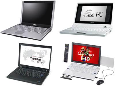 ノート型パソコンの数々 はじめてのパソコンがノート型、という方も多いのでは?ノート型パソコンには
