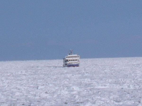 流氷の中を突き進む流氷観光砕氷船「おーろら」