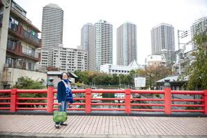 手前には「徳川幕府より建立を許された柱が埋設され云々」の立札。後方にはタワーマンション。一気に400年の時を超える