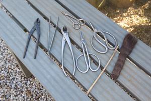 盆栽の手入れのための道具。根や太い枝を切るはさみ、細い枝を切るはさみ、針金を切るはさみ、針金をねじるためのやっとこ。土をならすコテ、掃除用のシュロなど用途によって様々